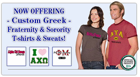 Custom Fraternity T-shirts and Sorority Sweatshirts